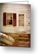 Back Porch Greeting Cards - Back Door of Old Farmhouse Greeting Card by Jill Battaglia
