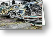 Rusted Cars Digital Art Greeting Cards - Back End Bugs Greeting Card by Jean OKeeffe