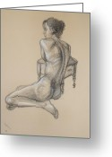 Nudes Drawings Greeting Cards - Back Nude 2 Greeting Card by Donelli  DiMaria