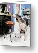 Office Painting Greeting Cards - Back Office Greeting Card by Debra Jones