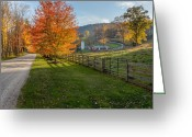 Fence Greeting Cards - Back Roads Greeting Card by Bill  Wakeley
