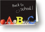 Lesson Greeting Cards - Back to school concept with abc letters Greeting Card by Sandra Cunningham