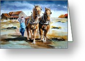 Plowing Greeting Cards - Back to the barn. Greeting Card by Virginia Sonntag