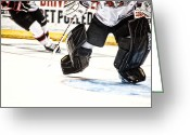 Hockey Action Greeting Cards - Back To The Crease Greeting Card by Karol  Livote
