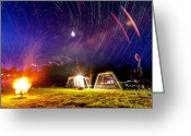 Startrails Greeting Cards - Back Yard Camping Greeting Card by Aaron Priest