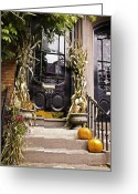 Bittersweet Greeting Cards - Backbay Doorway in Fall Greeting Card by T C Hoffman