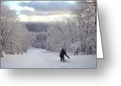 Image Type Photo Greeting Cards - Backcountry Snowboarding Greeting Card by Skip Brown