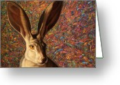 Jackrabbit Greeting Cards - Background Noise Greeting Card by James W Johnson