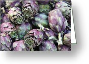 Green Artichoke Greeting Cards - Background of artichokes Greeting Card by Jane Rix