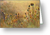 Flowers Pastels Greeting Cards - Backlit Thistle Greeting Card by Frances Marino