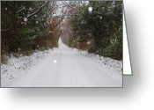 Snow Scenes Greeting Cards - Backroad Snow Greeting Card by Lisa Moore