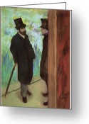 Two Men Greeting Cards - Backstage at the Opera Greeting Card by Edgar Degas