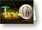 Night Shots Greeting Cards - Backyard Ball of Light Greeting Card by Rich Franco