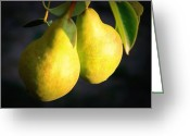 Food And Beverage Greeting Cards - Backyard Garden Series - Two Pears Greeting Card by Carol Groenen