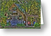 Shack Greeting Cards - Backyard Shed Greeting Card by Andrew Armstrong  -  Orange Room Images