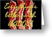 2hivelys Art Greeting Cards - Bacon Greeting Card by Methune Hively