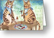 Killer Cats Greeting Cards - Bad Cats Greeting Card by Sushila Burgess