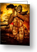 Apocalypse Greeting Cards - Bad Monkey Greeting Card by Bob Orsillo