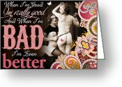 Corset Greeting Cards - Bad Seven Greeting Card by Chris Andruskiewicz