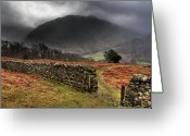 Storm Cloud Greeting Cards - Bad Weather Over Seatoller Greeting Card by Image by Roger Fleet.