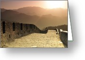 Brick Greeting Cards - Badaling Great Wall, Beijing Greeting Card by Huang Xin