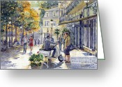Buildings Painting Greeting Cards - Baden-Baden Sophienstr Last Warm Day Greeting Card by Yuriy  Shevchuk