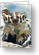 Southwest Greeting Cards - Badger - Guardian of the South Greeting Card by J W Baker
