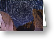 Startrail Greeting Cards - Badlands Spin Greeting Card by Evan Ludes