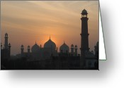 Minaret Greeting Cards - Badshahi Mosque At Sunset, Lahore, Pakistan Greeting Card by Daud Farooq