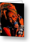 Producer Greeting Cards - Badu Greeting Card by Vel Verrept