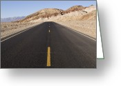 Desolate Landscapes Greeting Cards - Badwater Road At Mormon Point In Death Greeting Card by Rich Reid