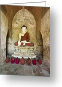 12-13 Years Greeting Cards - Bagan, Buddhist Monks Sitting In Temple Greeting Card by Martin Puddy