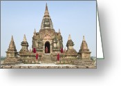 Five People Greeting Cards - Bagan,buddhist Monks Standing On Temple Top Greeting Card by Martin Puddy