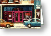 Resto Bars Greeting Cards - Bagels Etc Montreal Greeting Card by Carole Spandau