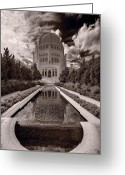 Faith Photo Greeting Cards - Bahai Temple Reflecting Pool Greeting Card by Steve Gadomski
