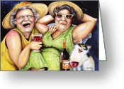 Elderly Painting Greeting Cards - Bahama Mamas Greeting Card by Shelly Wilkerson