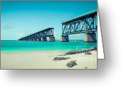 Florida Bridge Greeting Cards - Bahia Hondas Railroad Bridge  Greeting Card by Hannes Cmarits