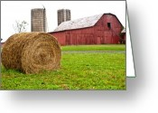 Feed Greeting Cards - Bail and Barn Greeting Card by Douglas Barnett