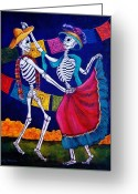 Calaveras Greeting Cards - Bailando Greeting Card by Candy Mayer