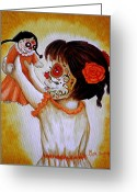 Doll Painting Greeting Cards - Bailando con mi Muneca  Greeting Card by Al  Molina