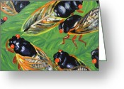Cicadas Greeting Cards - Bailando Salsa Greeting Card by Gitta Brewster