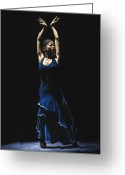 Japan Painting Greeting Cards - Bailarina a Solas del Flamenco Greeting Card by Richard Young