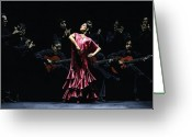Red Dress Painting Greeting Cards - Bailarina Orgullosa del Flamenco Greeting Card by Richard Young