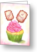 Cup Cakes Greeting Cards - Baker at Work Cupcake Art Greeting Card by Jai Johnson