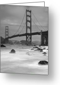 Suspension Bridge Greeting Cards - Baker Beach Impressions Greeting Card by Sebastian Schlueter (sibbiblue)