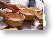 Wooden Bowls Greeting Cards - Baker Hands and Wooden Bowls Greeting Card by Jorge Malo