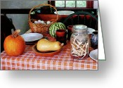 Mason Jars Photo Greeting Cards - Baking a Squash and Pumpkin Pie Greeting Card by Susan Savad
