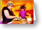 High Resolution Greeting Cards - Baking Cookies with Grandma Greeting Card by Nikki Marie Smith