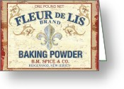 Fleur Greeting Cards - Baking Powder Fleur de Lis Greeting Card by Debbie DeWitt