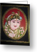 God Reliefs Greeting Cards - Bal Krishna Greeting Card by Asha Nayak